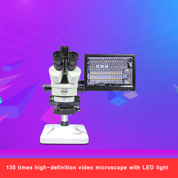 TBK mobile phone repair binocular trinocular stereo TBK-11A microscope continuous electronic clock can be connected to computer 20x 40x sector base binocular stereo microscope pcb microscope cell phone mobile phone repair with top and bottom led light