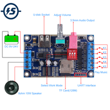 WAV MP3 Voice Module 10W Sound Player DC 12V 24V Programmable Control Support TF Card U Disk