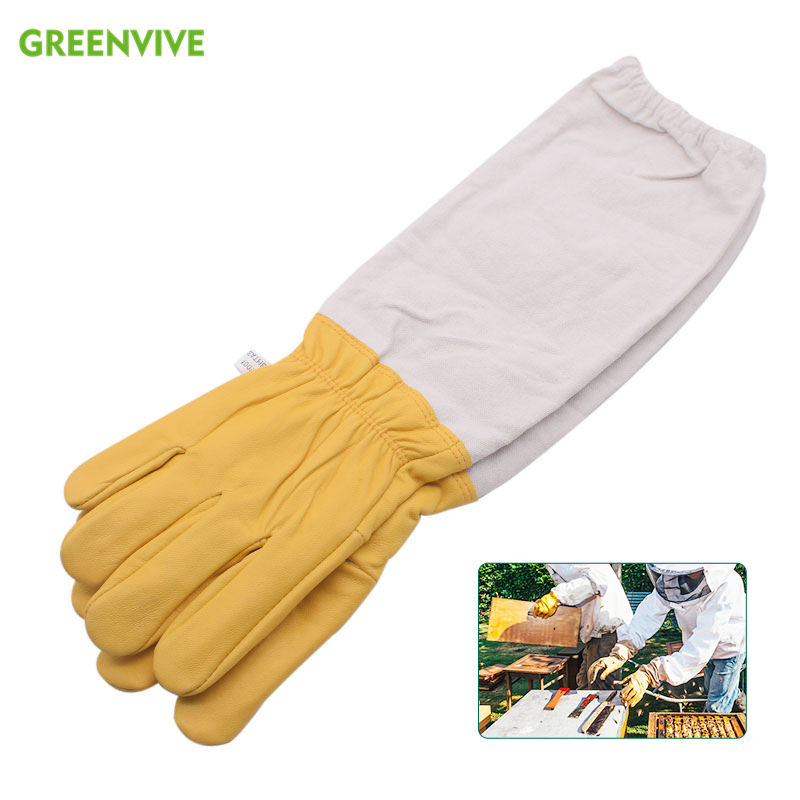 Yellow Gloves Sheepskin Anti Bee Beekeeping Tools For Beekeeper Protective Glove Canvas Beekeeping Equipment Parts 2020NewProtective Clothing Accessories   -