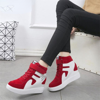 2021Thick Platform Sneakers Casual Lace-Up Wedges High Heel Womens Shoes Outdoor Black Red Platform Vulcanize Shoes Women 1