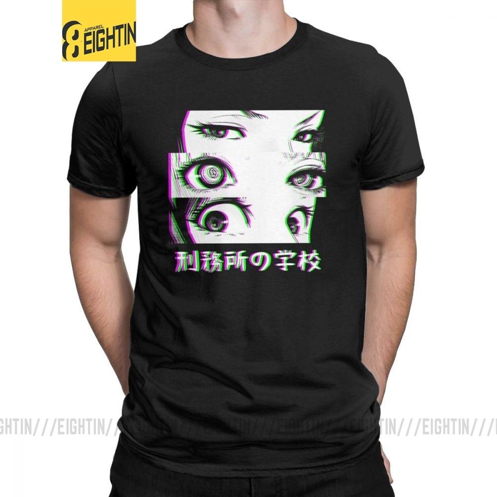 Man's T Shirts Prison School T-Shirt Sad Japanese Anime Manga Kawaii Vintage Short Sleeved Tee Shirt Clothes Pure Cotton