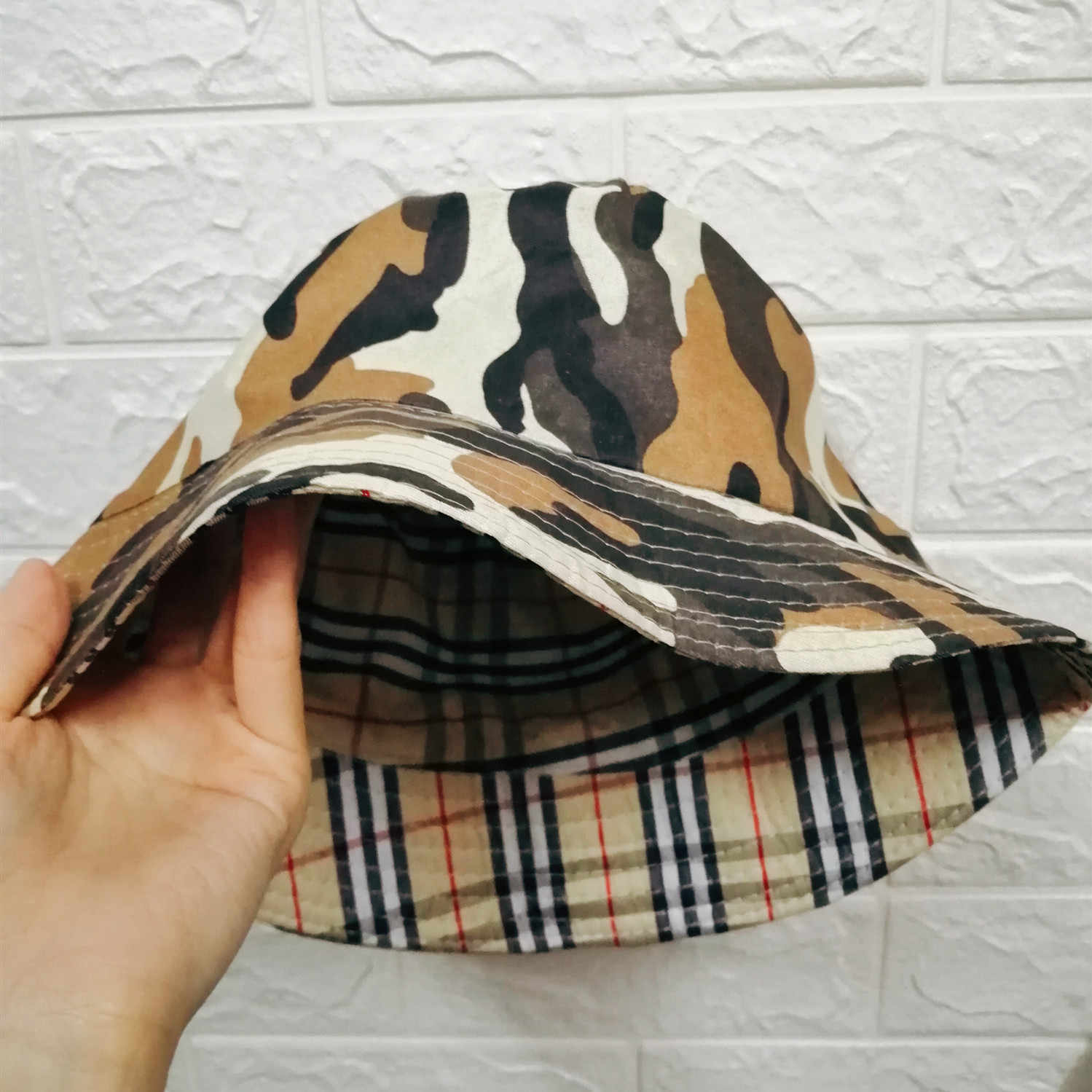 Camouflage Plaid Bucket Hat Double-side Unisex Basin Folding Cap Men Women Fishing Hunting Outdoor Hat Flat Top Sun Travel Hat