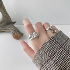 Image 5 - 925 Anillos de Plata esterlina Irregular ajustable Para Mujer, anillo de Corea hecho a mano, Anillos de Plata 925 Para bisutería Para Mujer, joyería 2019