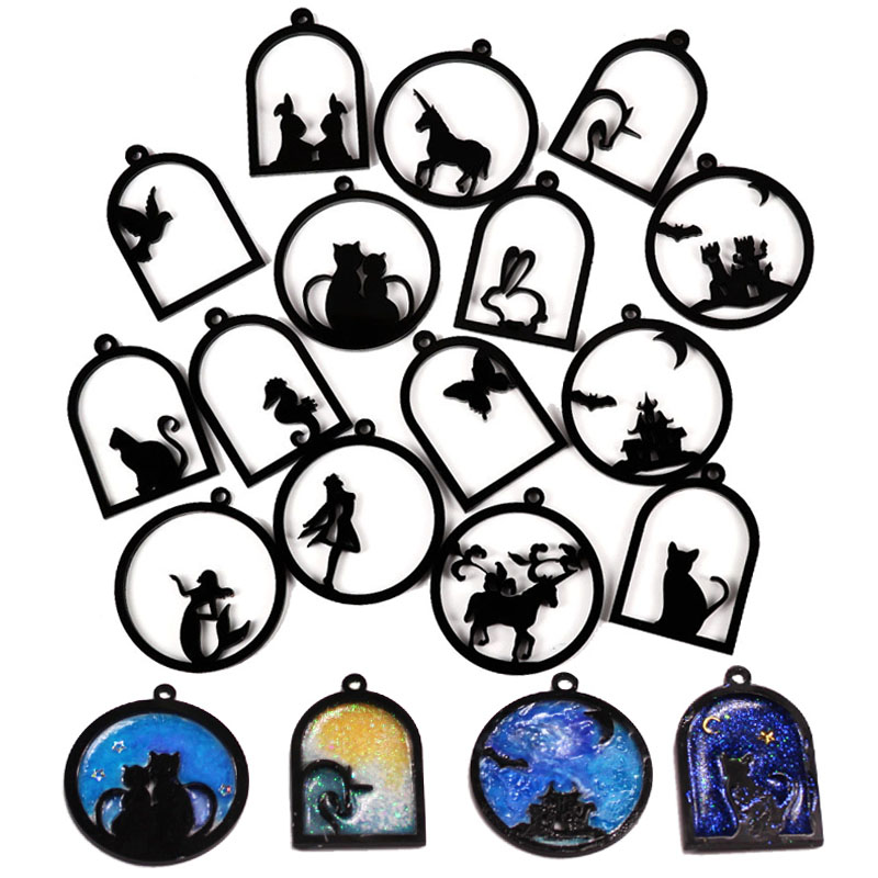 1pcs-Butterfly-Fish-Cat-Girl-Rabbit-Animal-Acrylic-Frame-Pendant-Gold-Charm-Bezel-Setting-Cabochon-Setting (1) - 副本