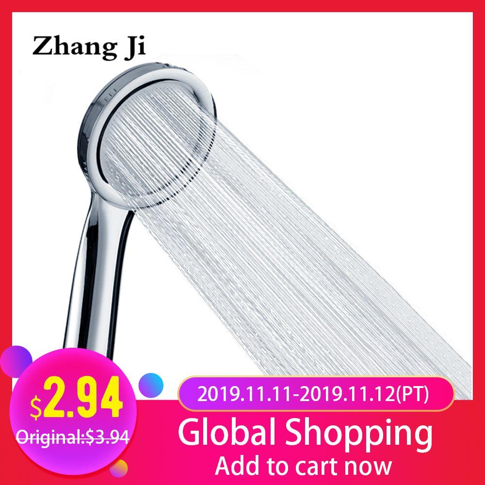 ZhangJi Ultrathin Pressure Boost Shower Head 30% Watersaving Bathroom Handheld Durable Pressurized Chrome Plated Showerhead