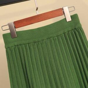 Image 3 - Осенне зимняя утолщенная плиссированная длинная трикотажная юбка трапециевидной формы ярких цветов кашемировые Теплые Элегантные однотонные расклешенные длинные юбки до середины икры зеленого и серого цвета