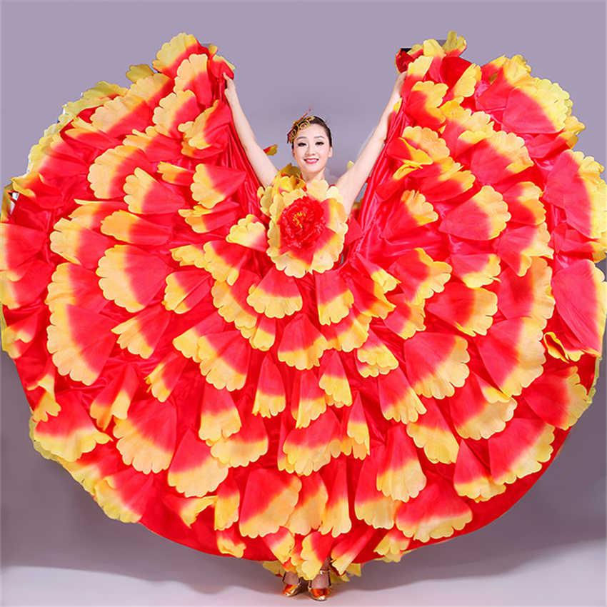 6 Kleur Flamenco Jurk Dance Gypsy Rok Vrouw Spanje Buik Kostuums Grote Bloemblaadje Spaans Chorus Stage Performance Slijtage S-3XL