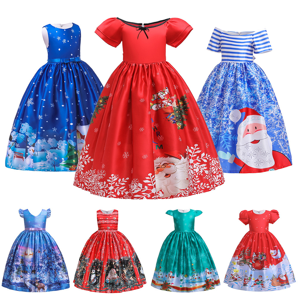 New Style Long Skirts Christmas Clothing Europe And America Hot Selling Children Forging Cloth Cartoon Santa Claus Performance F