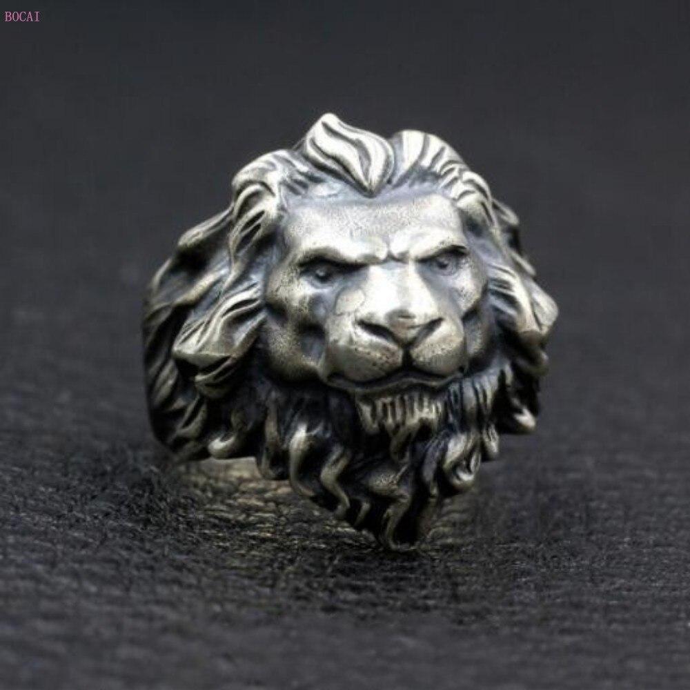Lion Lion roi anneau 925 argent pur Thai argent personnalité hommes gardiens anneaux pour hommes