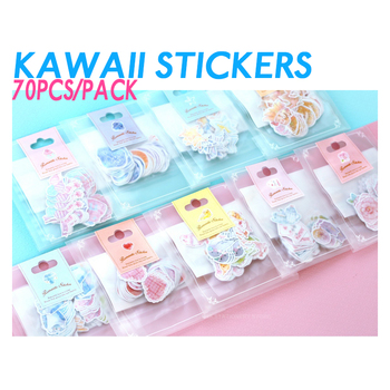 70pcs/ Pack Kawaii Stickers Romantic Small Sticker Painted Watercolor Diary Photo Decorative Paper