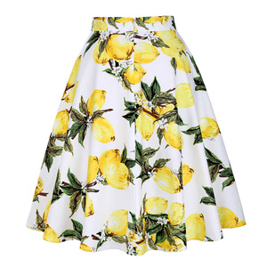 Image 2 - Feminino limão impresso saias curtas amarelo limão impresso cintura alta 50s 60s swing rockabilly a line midi saia de verão casual 2020