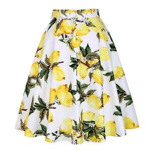 Image 2 - Kobiety Lemon spódnice żółty nadruk z cytryną wysokiej talii 50s 60s Swing Rockabilly plisowane spódnice Midi kobieta w stylu Casual, letnia spódnica 2019