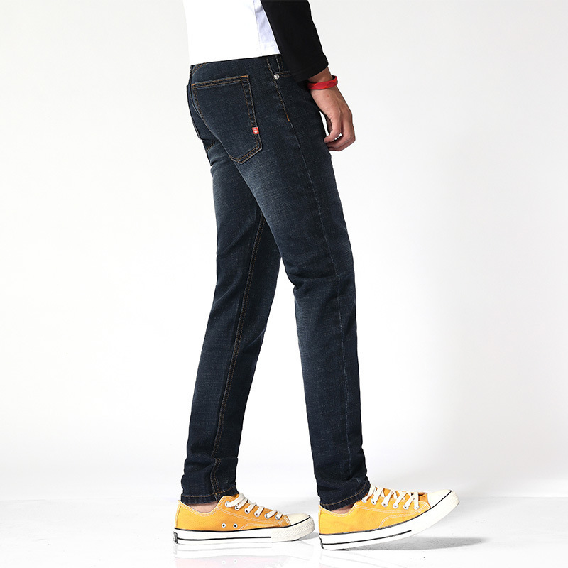 Blue Jeans Men's Autumn And Winter Straight Slim Slimming Skinny Pants Youth Elasticity Simple Versatile Casual Trousers