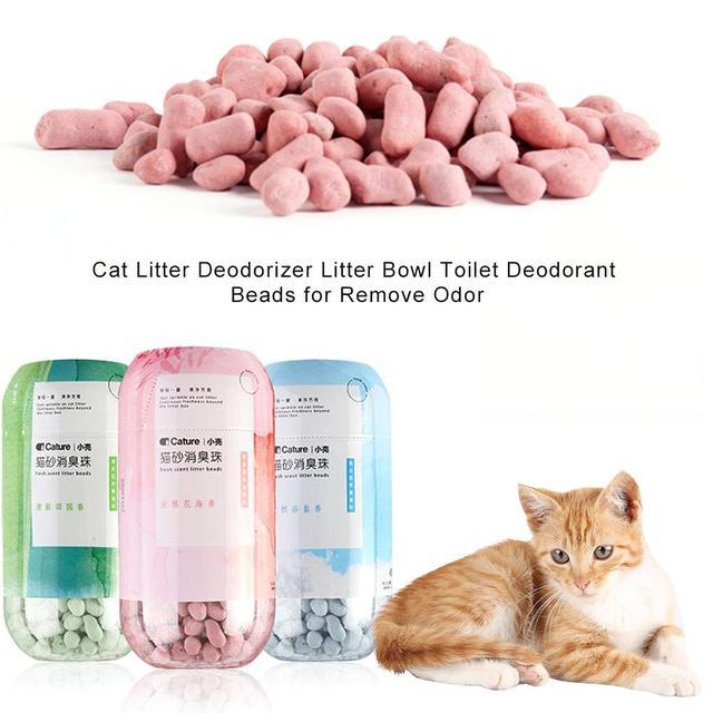 Litière déodorant pour chat   Perles déodorant pour toilette pour chat, absorbe bactéries parfum frais durable pour Air frais, fournitures pratiques et rapides pour animaux de compagnie