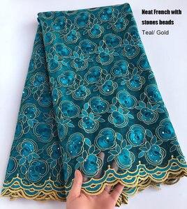 Image 3 - 5 ярдов кораллово красное серебряное французское кружево, африканская швейцарская Тюлевая ткань, очень аккуратная вышивка, нигерийская традиционная одежда высокого качества