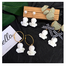 Japan Vintage Harajuku Baroque Funny Cute Cupid Angel Bow Pearl Pendant Drop Earring for Women Friendship Girl Gifts Jewelry
