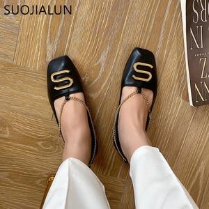 Image 5 - Женские туфли на плоской подошве SUOJIALUN, с квадратным носком и металлической пряжкой, мягкие кожаные балетки с закрытым носком, Loafe, весна 2019