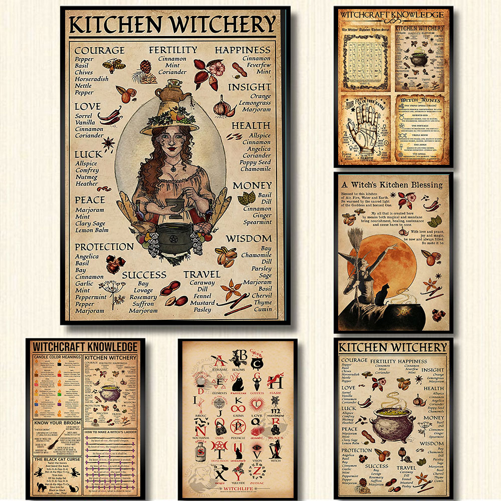 Kitchen Witchcraft Fun Posters and Prints Decoration Canvas Wall Picture Witch Blessing Knowledge Art Painting Gift Home Decor