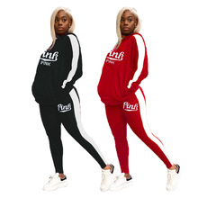 Pants Suit Hoodies Jogger Fitness Outfit Active-Wear Two-Piece-Set Patchwork Pink Women's