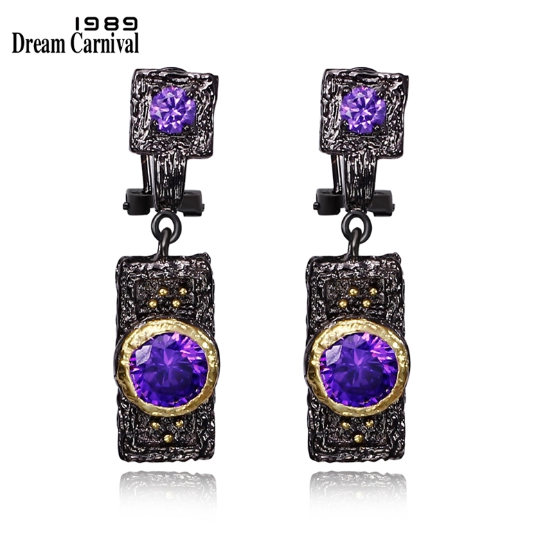 DreamCarnival 1989 Vintage Purple Zircon Stone Black Gold Color Hip Hop Luxury Costume Jewelry Wholesale Drop Earrings E024