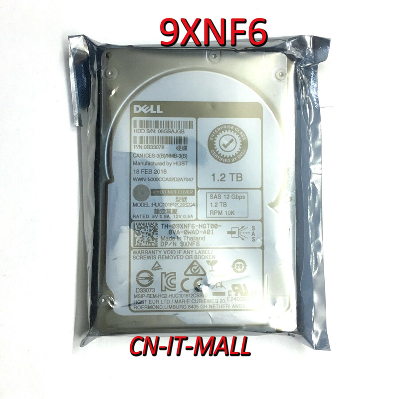 "New 9XNF6 09XNF6 HUC101812CSS204 1.2TB 10K SAS 2.5"" Hot-plug HDD"