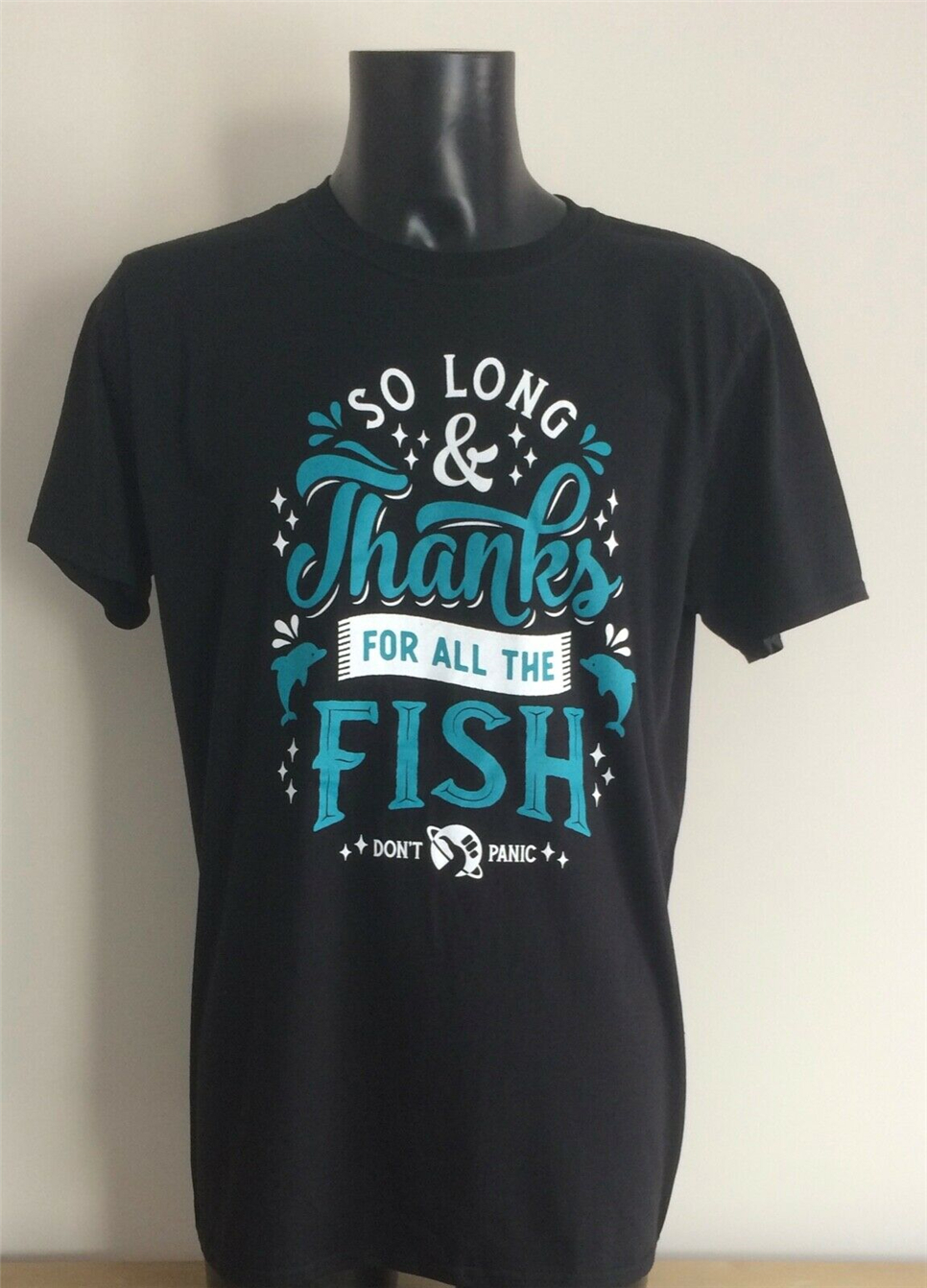 Douglas Adams - So Long & Thanks For All The Fish T Shirt - Black - Large Festive Tee Shirt