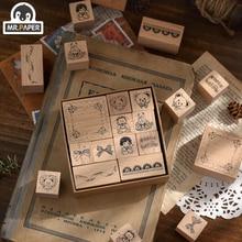 Mr. Paper Bear Tea Party Series Seal Scrapbook DecoDIY Craft Standard Wooden Seal Wooden Rubber Stamp