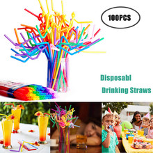Straw-Bar-Accessories Bendy Drinking-Straws Plastic Party Disposable 100PCS Assorted-Colors