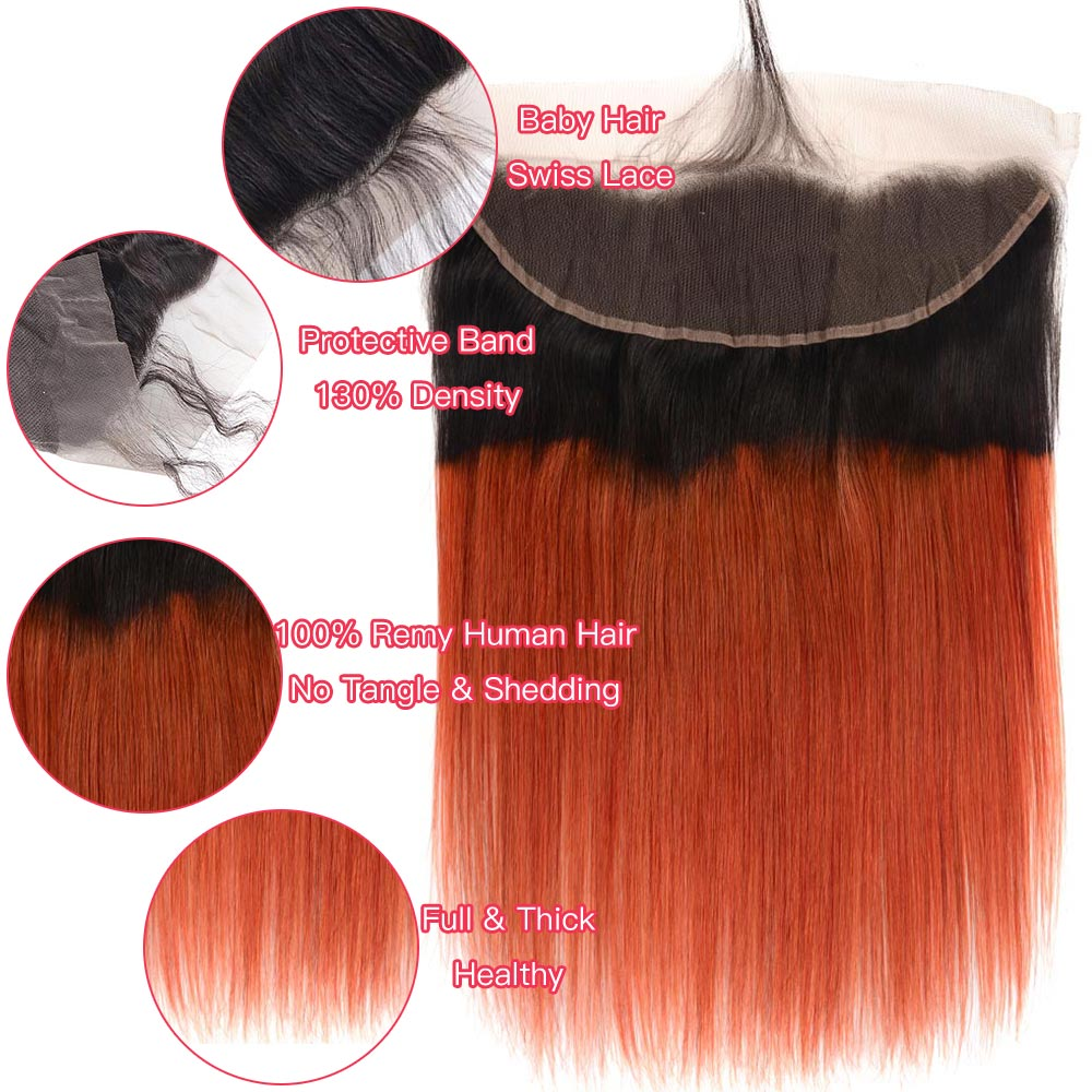 Ombre 1b Orange Straight Hair 3 4 Bundles With Frontal Remy Human Hair Extension Roots Brazilian Hair Weave Bundles With Closure in 3 4 Bundles with Closure from Hair Extensions Wigs