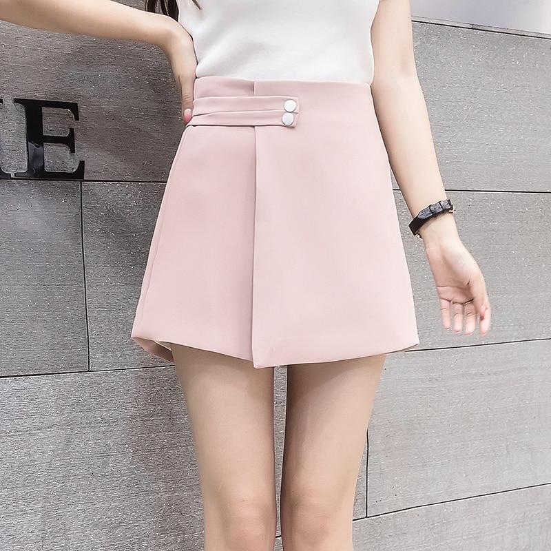 2019 New Women Shorts Skirts Spring Fashion High Waist Shorts Female Casual Loose Culottes Woman Black/Pink/White Summer Shorts
