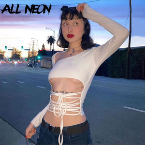 ALLNeon Fashion Lace up Front Crop Tops for Women Solid Skew Collar Hollow Out Long Sleeve T-shirts 90s E-girl Style White Tops(China)