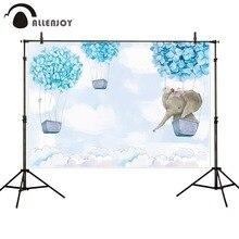Allenjoy elephant photography backdrop baby blue birthday baptism shower hot air balloon party background photozone photophone