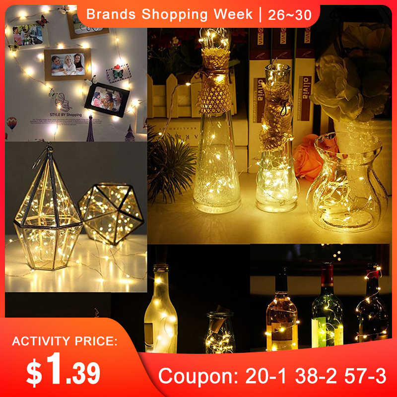 CLAITE 2M 20LED 3 Modes Sliver Wire Bottle LED String Light Battery Powered Glass Wine Cork Lamp For Christmas Wedding Holiday
