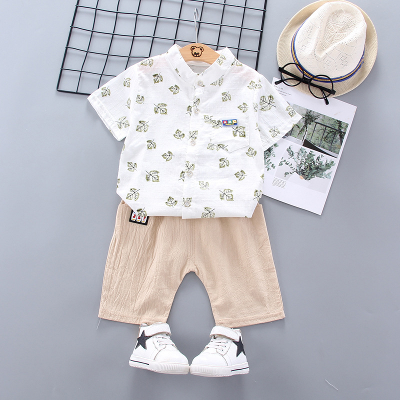 Boys And Girls Summer Clothes Fashion Cotton Set Printing Leaves Sports Suit Boys T Shirt Shorts Children S Clothing Aliexpress