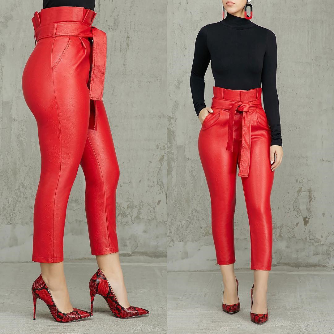Sexy High Waist PU Pants Bodycon Red Black with Waist Belt Pockets Slim Tight Trousers Women Fashion Female Spring 2020 New Wear