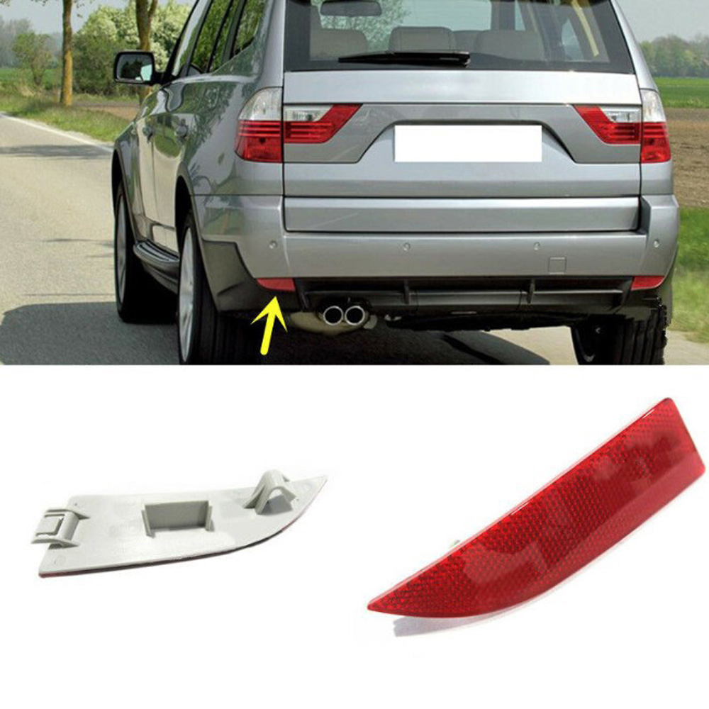2 pcs Car Rear Bumper Cover Left/Right Reflector Waterproof Red For BMW X3 2004 2010 Red ABS Reflector Board|Reflective Strips|   - title=