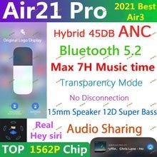 Air21 pro anc tws sem fio bluetooth fone de ouvido 5.2 fones 45db híbrido super baixo qualidade 1562f pk h1 1562h ar 9 pro air10 plus
