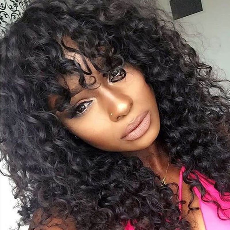 Deep Curly 360 Lace Frontal Wig With Bangs 250 Density Brazilian 13x6 Lace Front Human Hair Bob Wigs Pre Plucked Ever BeautyRemy