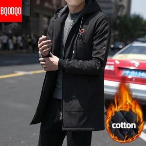 Image 2 - Inverno quente longo trench coat masculino estilo militar com capuz casual blusão preto hip hop streetwear outono jaqueta masculina de grandes dimensões