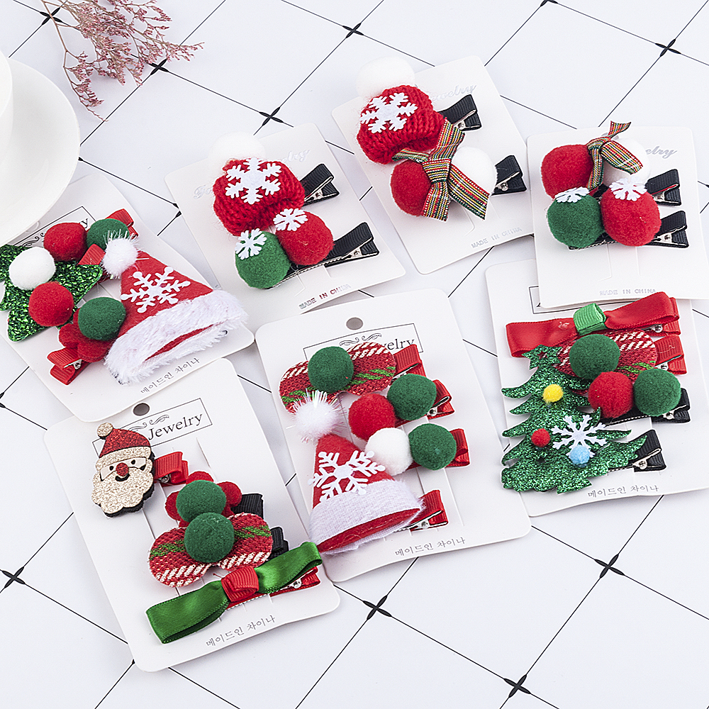 Women Girls Cute Christmas Hairpins Hair Clip Bands Cartoon Headwear Kids Barrettes Toddlers Charm Jewelry Gift Hair Accessories
