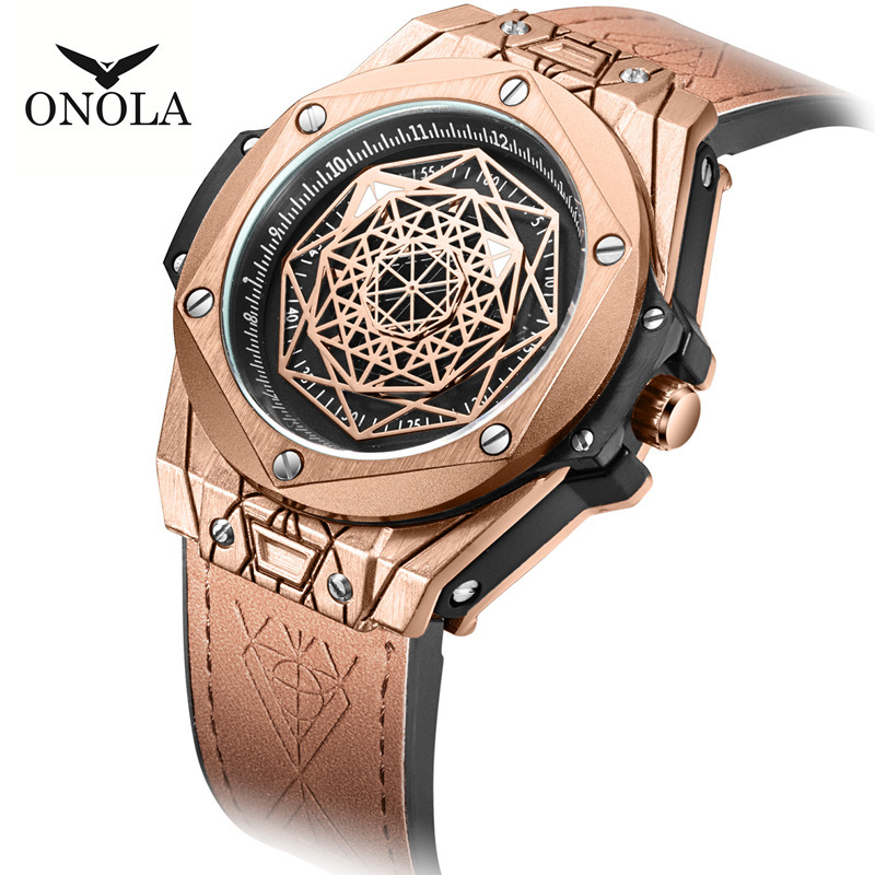 ONOLA Brand Mens Wristwatches Leather Quartz Luxury Man Watches Sport Waterproof Men Watch