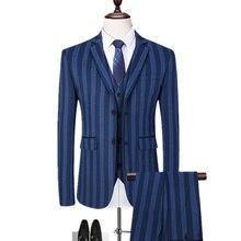 Retrieved Men Business Casual Vertical Strings 3 Pieces Suits/Male Two Button Blazers Jacker Jas Broek Vest