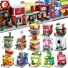 цена на Sembo Building Block Mini City Street Store Building Bricks Chinatown Series Educational Kid Toy Block