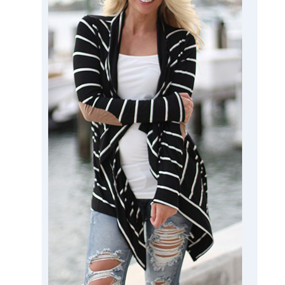 Women cardigan longue Casual Long Sleeve Striped Cardigans Patchwork Outwear Beach Holiday Open Stitch