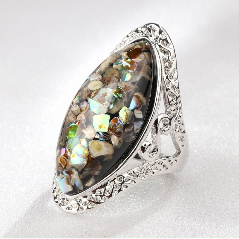 Elegant Colorful Shell Big Stone Resin Rings For Women Jewelry Vintage Oval Finger Ring Artificial Coral Accessories F4P448