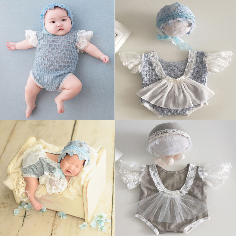 2Pcs Newborn Photography Props Suit Lace Romper + Hat Set Knit Outfits Clothing Infants Shooting Photo Gifts