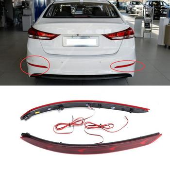 2 Pcs LED Lamp Car Dual Function Rear Bumper Lamp Plane Model for Hyundai Elantra 2016 2017 12V Car Styling