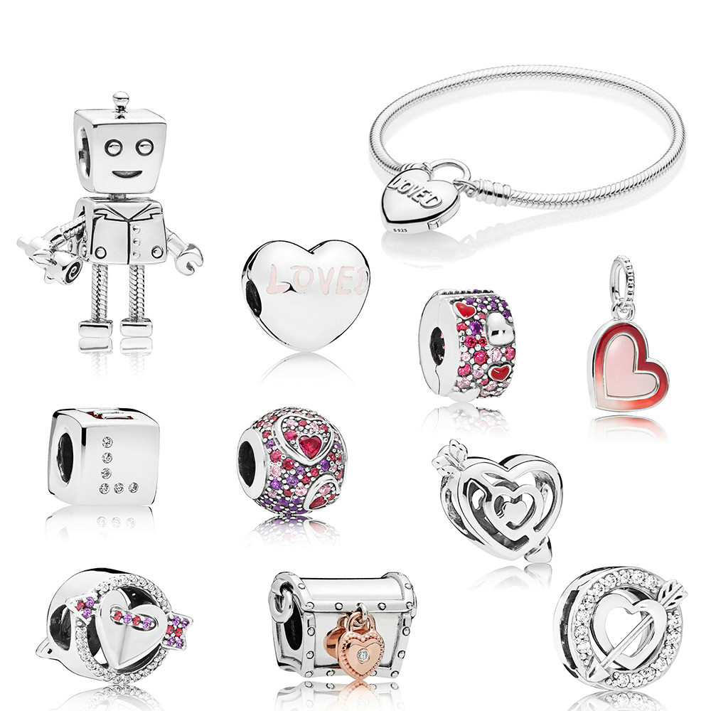 2019 NEW 100% 925 Sterling Silver Valentine's Day Rob Bot CLUB Dice Sparkling Arrow Charm Loved Heart Clip Pendant Bracelet Gift