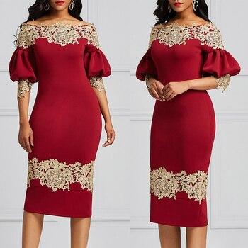 Embroidered Women's Dress Off-the-Shoulder Boat Neck Vintage Femme Elegant Dress Lantern Sleeve Lace Stitching Dress D30 lace applique lantern sleeve cold shoulder top