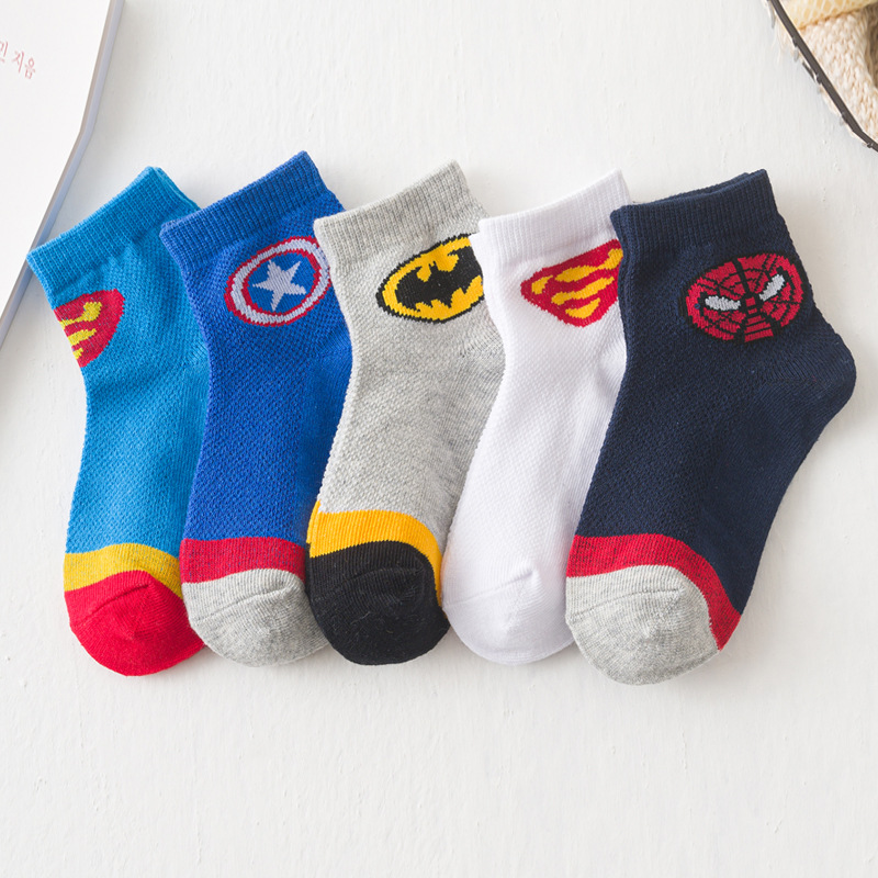 5Pairs/lot 1-8Y Infant Baby Socks Children Socks For Boys Cotton Spiderman Batman Superman Captain America Boy Cartoon Socks